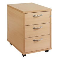 Dams 3 Drawer Mobile pedestal with Silver Handle in Beech
