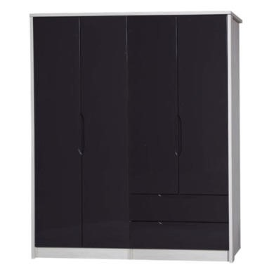 One Call Furniture Avola Premium Plus 4 Door Combi + Regular Robe in  White with Grey Gloss