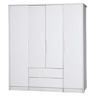 One Call Furniture Avola Premium Plus 4 Door Combi + Single Robe in White with Cream Gloss