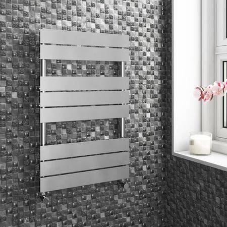 Modern Flat Heated Towel Rail Bathroom Radiator - 800 x 500mm - 994 BTU's