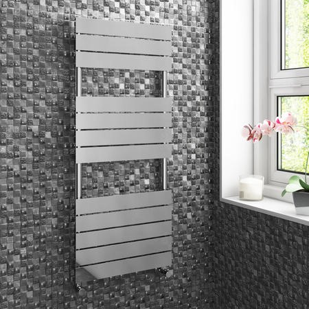 Chrome Vertical Bathroom Towel Radiator - 1200 x 500mm
