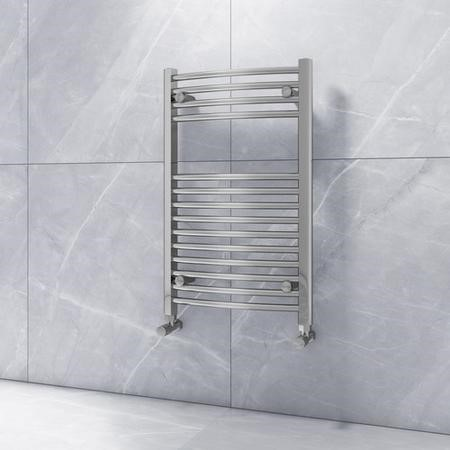 Modern Curved Chrome Heated Towel Rail Bathroom Radiator - 800 x 500mm - 843 BTU's