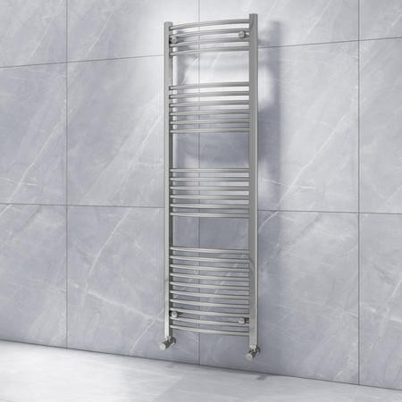 Modern Curved Chrome Heated Towel Rail Bathroom Radiator - 1600 x 500mm - 1602 BTU's