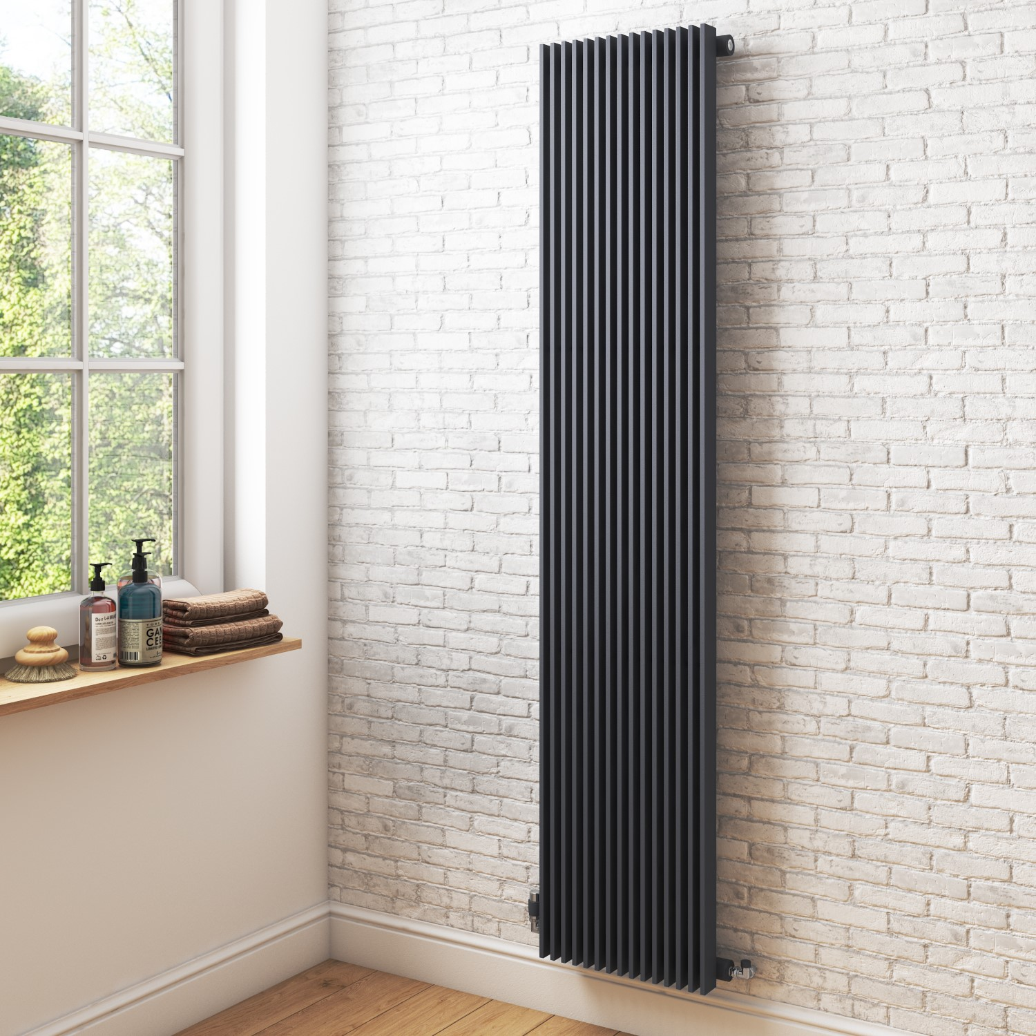 Vertical Anthracite Tall Radiator 1800 X 399mm Furniture123