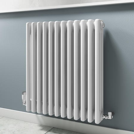 White Traditional Column Bathroom Radiator - 600 x 554mm - 2455 BTU's