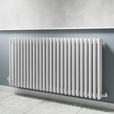 Horizontal White Traditional Column Radiator - 600 x 1177mm