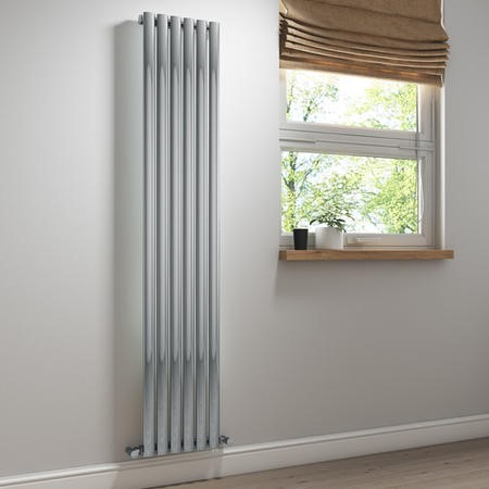 Chrome Straight Vertical Designer Radiator - 1800 x 360mm - 1992 BTU's
