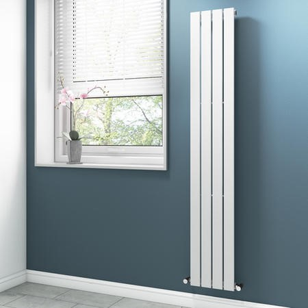 Vertical White Bathroom Radiator with Flat Panels - 1800 x 300mm