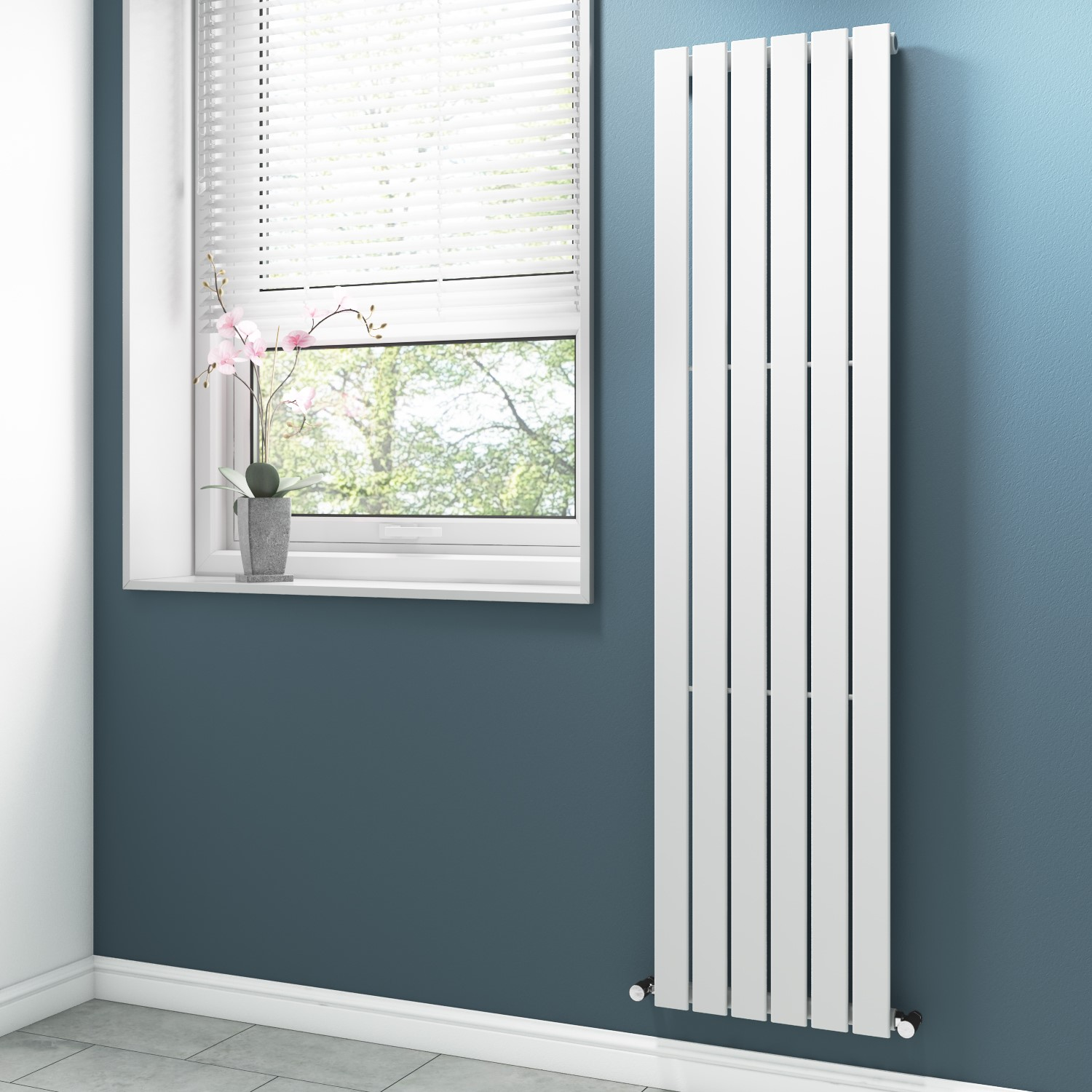 White Vertical Tall Radiator With Flat Panels 1800 X 450mm Furniture123