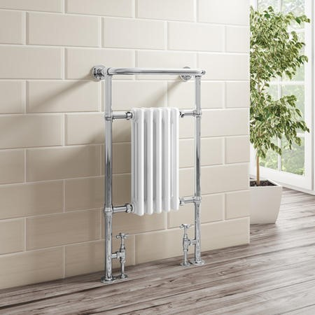 Traditional Chrome Heated Towel Rail Radiator - 963 x 583 x 230mm - 2775 BTU's