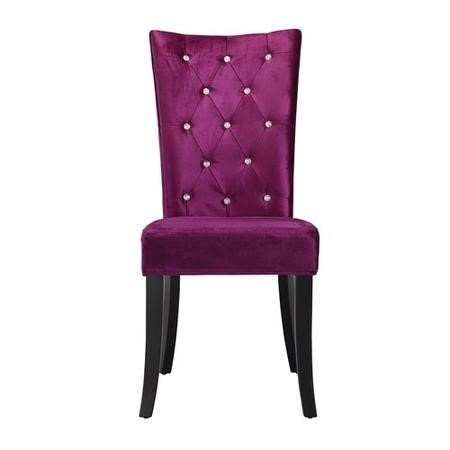 LPD Radiance Pair of Purple Velvet Dining Chairs
