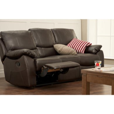 World Furniture Raffles 3 Seater Recliner in Brown