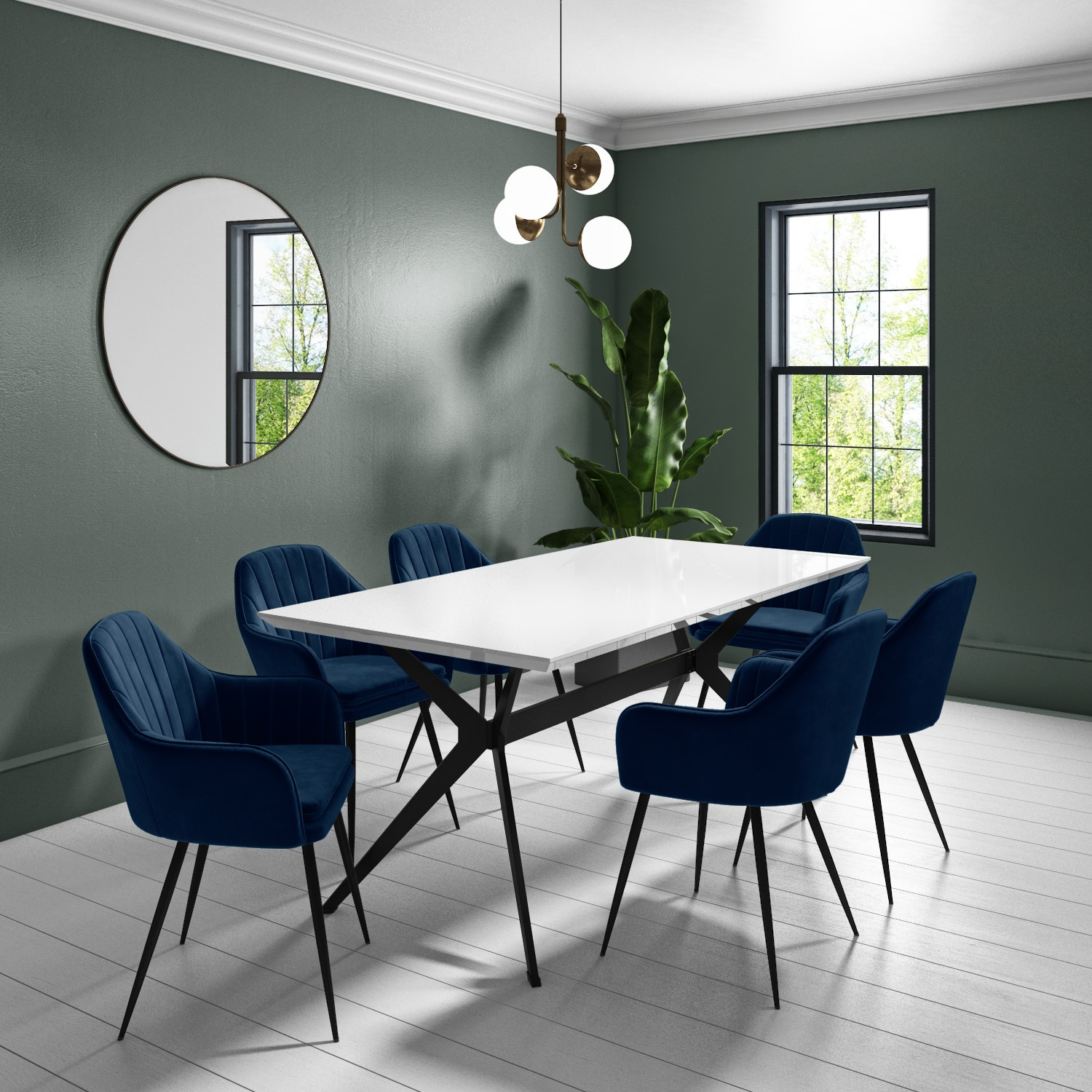 Large White Gloss Modern Dining Table, White Dining Room Table Seats 8
