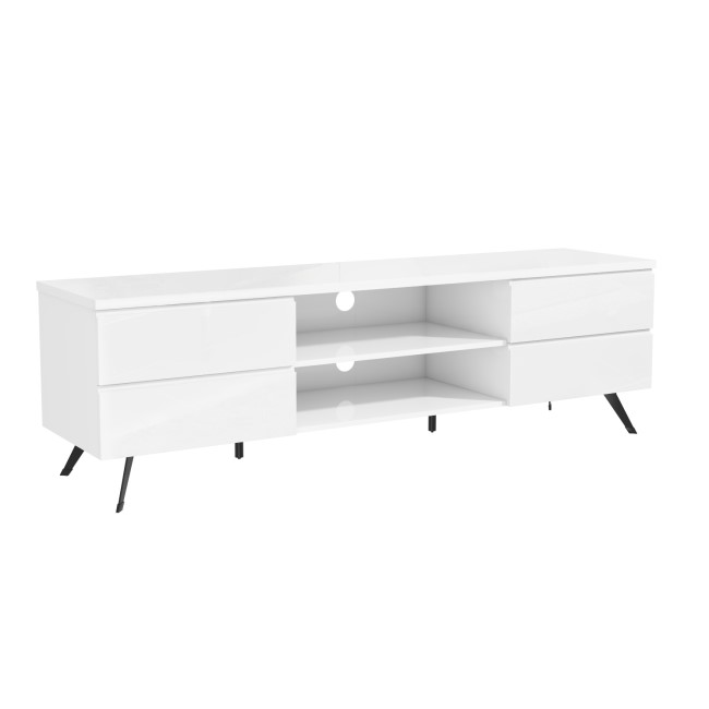"Large White Gloss TV Unit - TVs up to 70"" - Rochelle"