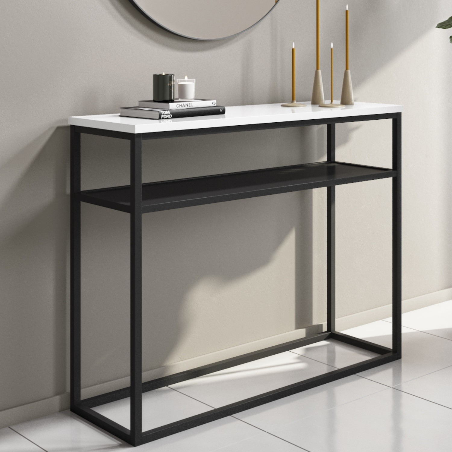 Narrow White Gloss Console Table With Black Metal Base Rochelle Furniture123
