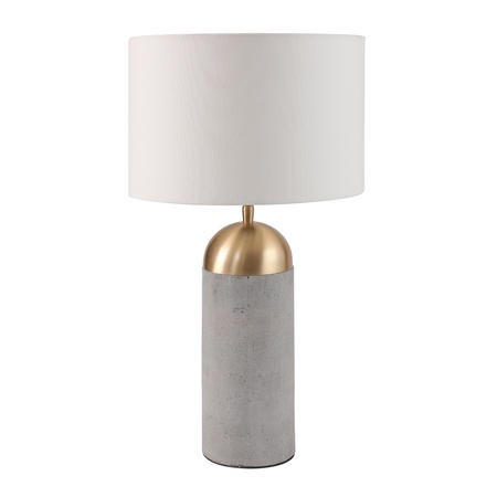 Grey Concrete Table Lamp with Gold Finish & White Shade - Fairburn