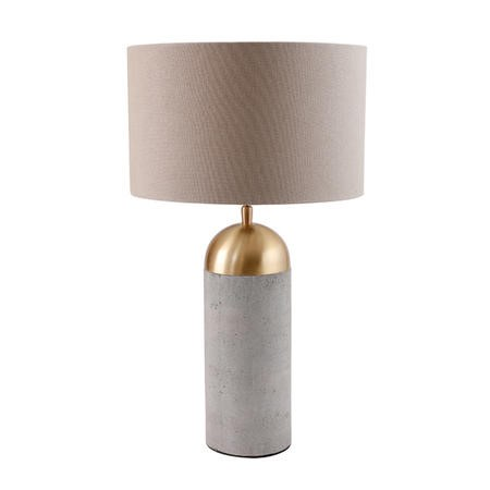 Grey Concrete Table Lamp with Gold Finish & Mink Shade - Fairburn