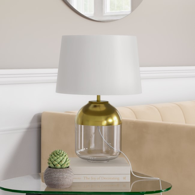 Glass Table Lamp with Copper Finish & White Shade - Heslington