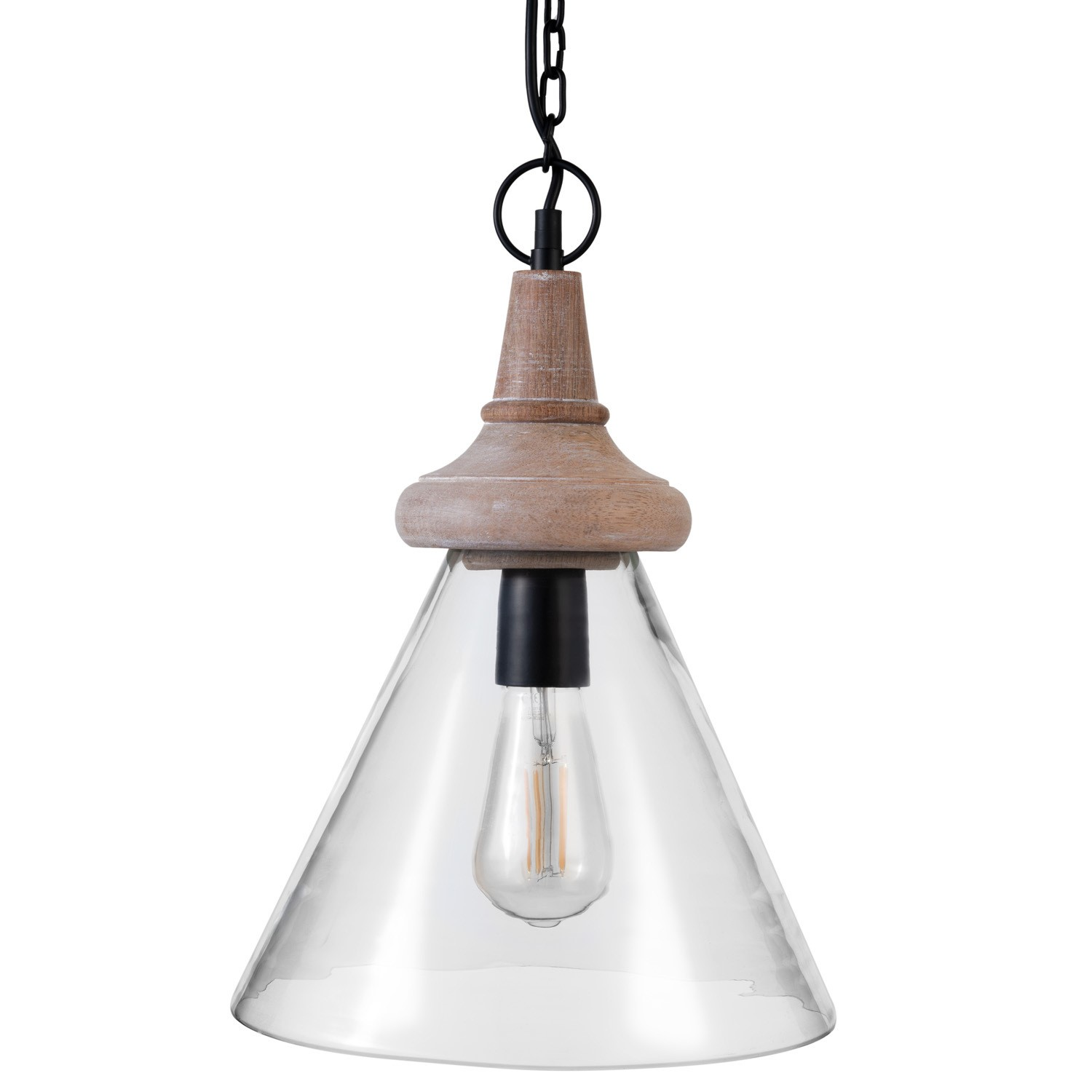 Dome Glass Pendant Light with Wooden Finish - Scandi - Durha
