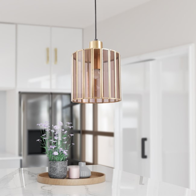 Ribbed Hanging Pendant Light in Brass & Smoked Glass - Dallas