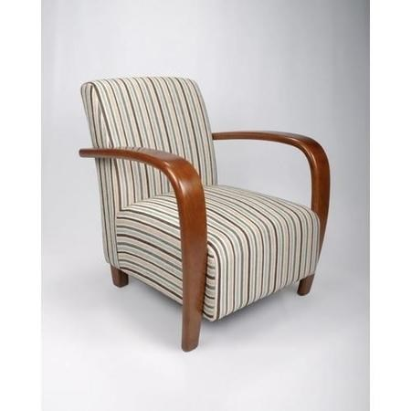 Restmore Stripe Armchair in Light Blue with Wooden Arms - Shankar
