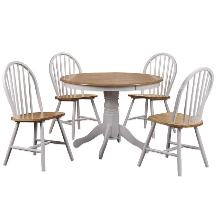 Rhode island solid wood round dining set with chairs