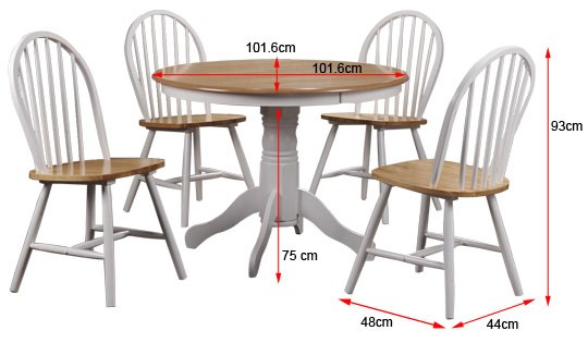 Rhode Island Solid Wood Round Dining Set With 4 Chairs Furniture123