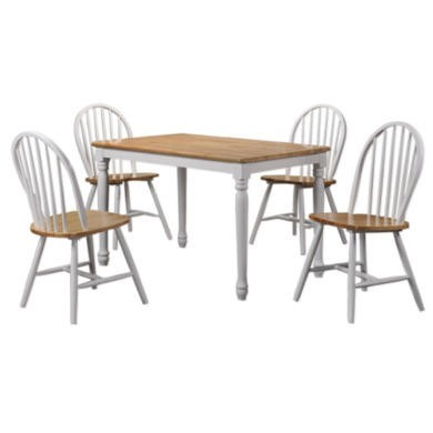 Rhode Island Solid Wood Rectangular Dining Set with 4 Chairs