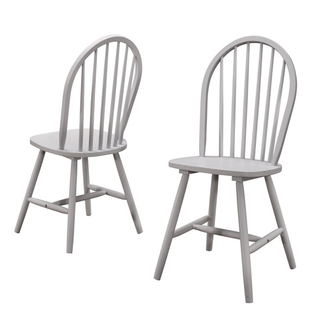 Windsor Dining Chairs in Grey Wood Set of 2 - Rhode Island