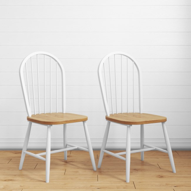Pair of Windsor Dining Chairs in White with Wooden Seat - Rhode Island