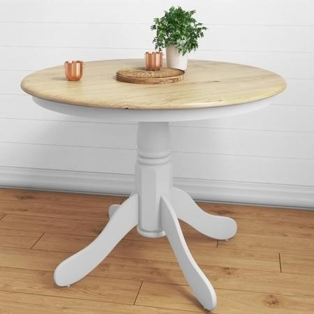 Round Pedestal Dining Table in White with Wood Top - Seats 4 - Rhode Island