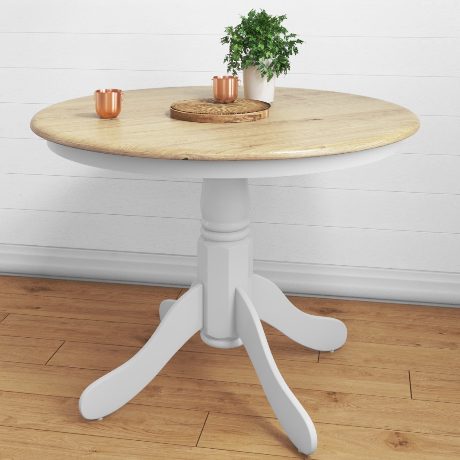 Picture of: Round Pedestal Dining Table In White With Wood Top Seats 4 Rhode Island Furniture123