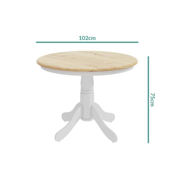 Rhode island round pedestal dining table in white