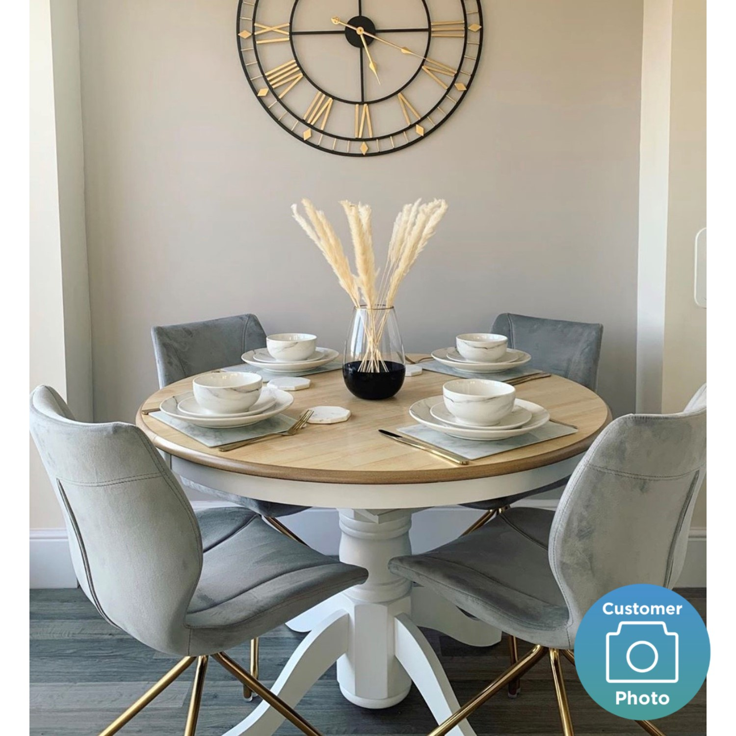 Round Pedestal Dining Table In White With Wood Top Seats 4 Rhode Island Furniture123