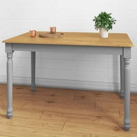 Rhode Island Rectangle Wooden Dining Table in Oak/Grey - 4 Seater