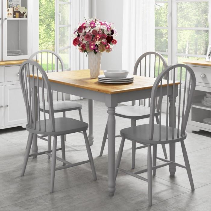 Rhode island rectangle wooden dining table in oak grey