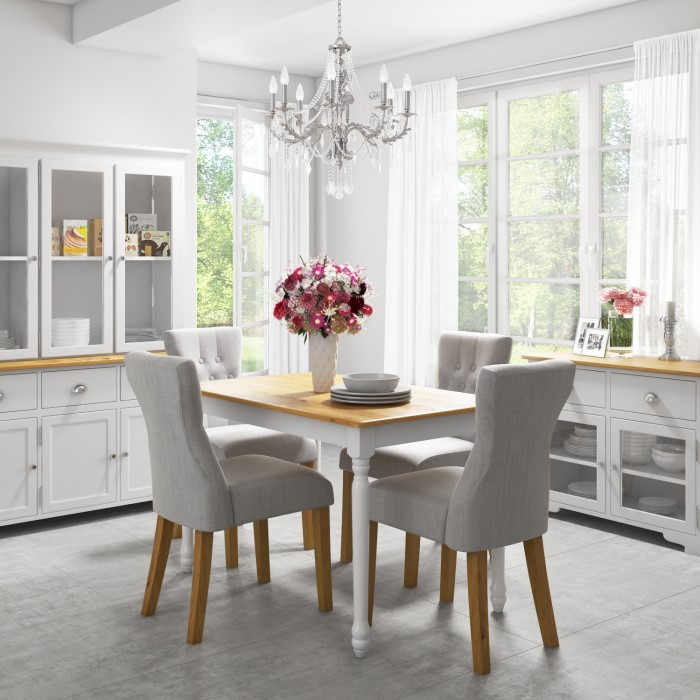 Kitchen Island Table With 4 Chairs: Rhode Island Kitchen Dining Table In White/Natural