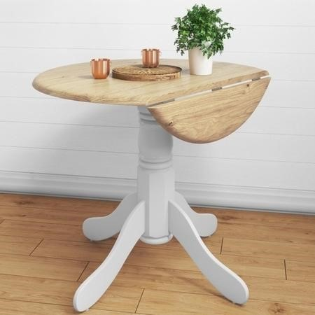 Rhode Island Round Drop Leaf Space Saving Dining Table in White/Natural - 4 Seater