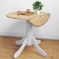 GRADE A2 - Rhode Island Round Drop Leaf Table White/Natural