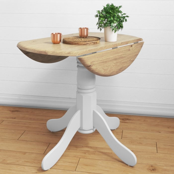 Rhode island round drop leaf space saving dining table in