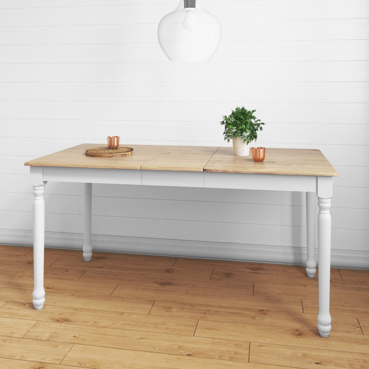 Large White Extendable Dining Table With Light Oak Top Seats 6 Rhode Island Furniture123