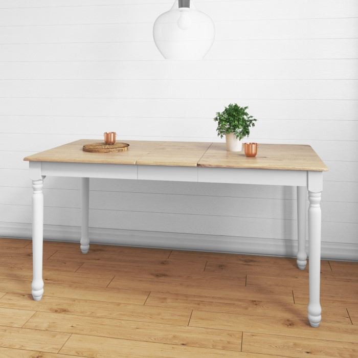 Rhode island wooden extendable dining table in white