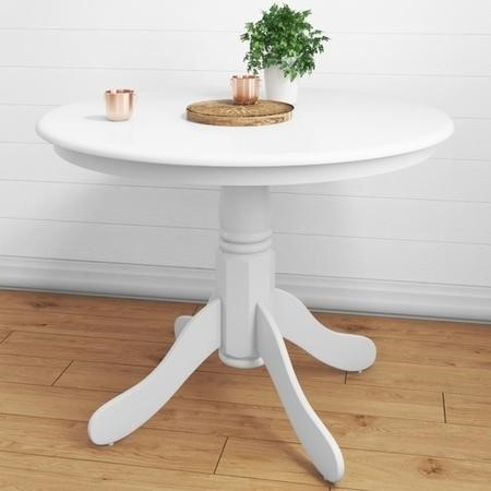 Rhode Island White Round Pedestal Dining Table - 4 Seater