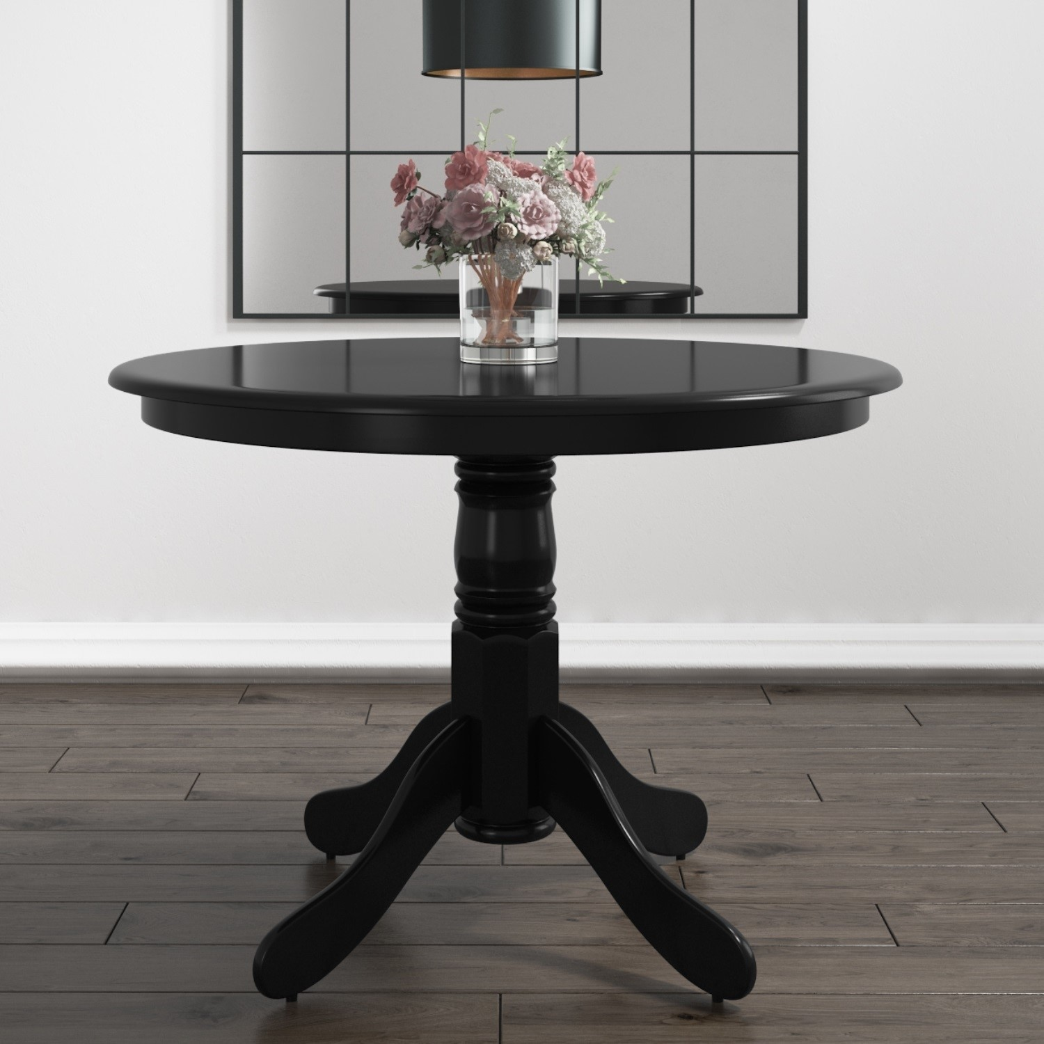 Small Round Dining Table In Black Seats 4 Rhode Island Furniture123