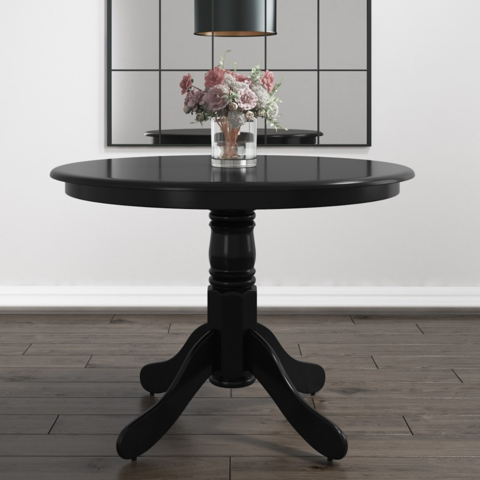 Small Round Dining Table In Black Seats 4 Rhode Island