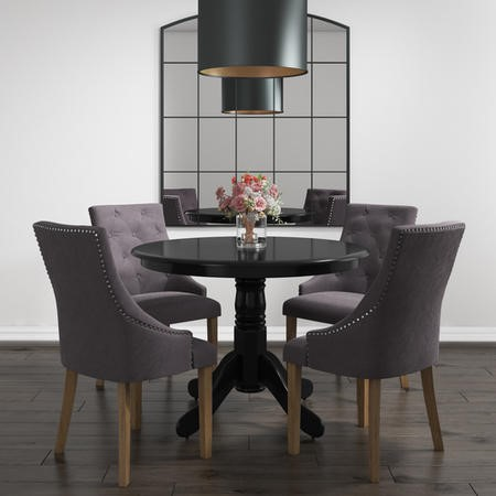 Rhode Island Round Dining Table in Black - Seats 4