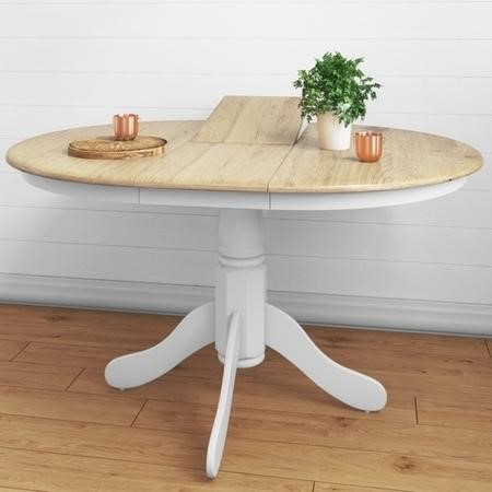 Grade A1 Rhode Island Solid Wood Extendable Round 6 Seater Dining Table In White Natural