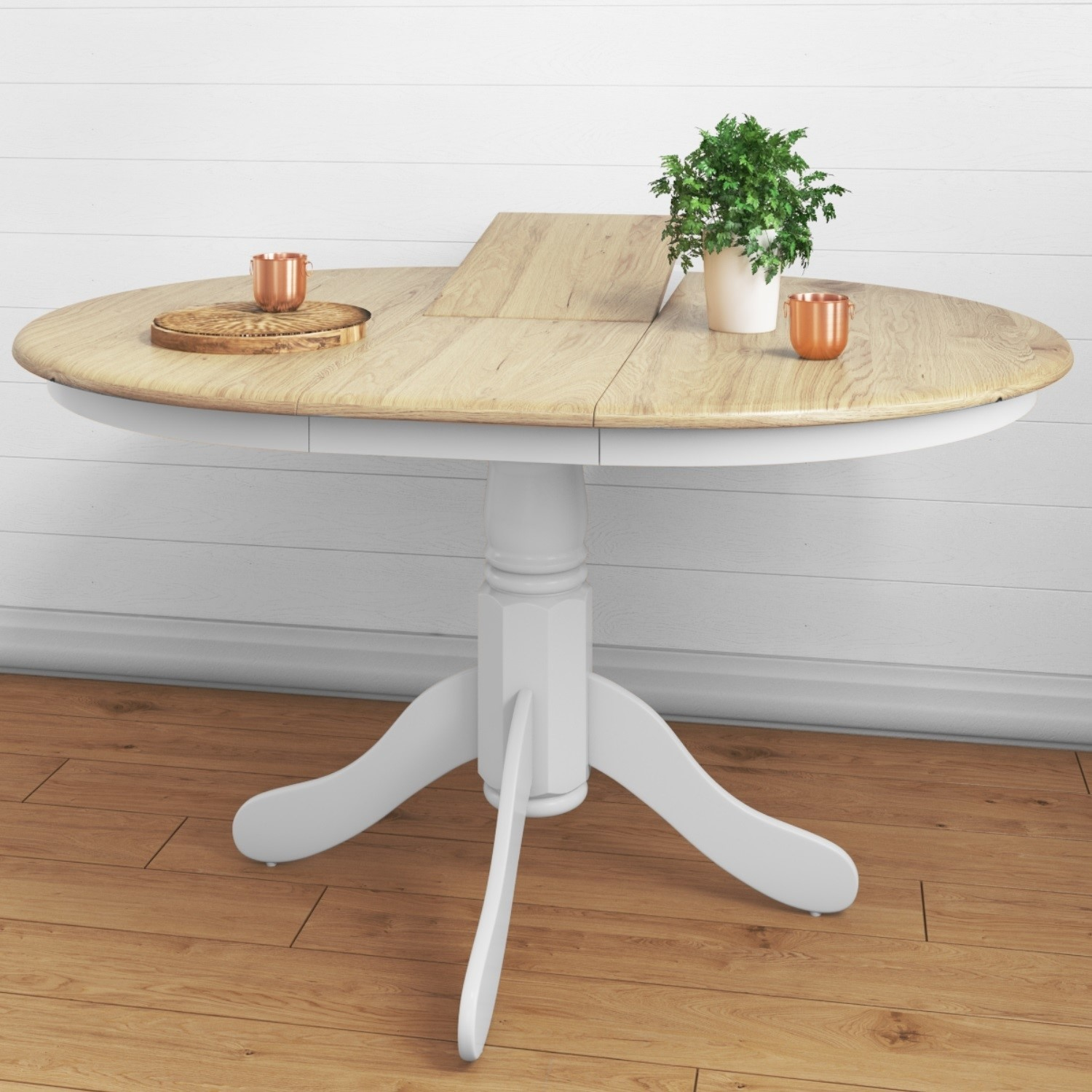 Picture of: Round Extendable Dining Table In White Oak Effect Seats 6 Rhode Island Furniture123