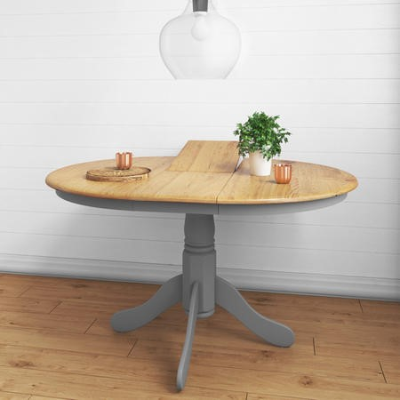 Round Extendable Dining Table in Grey & Oak Finish - Seats 6 - Rhode Island