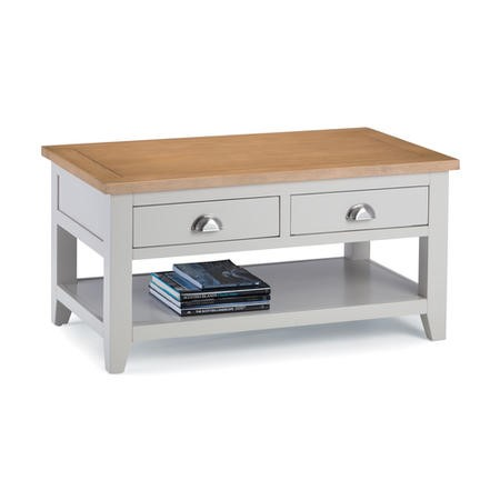 Julian Bowen Richmond Coffee Table with 2 Drawers in Pale Grey